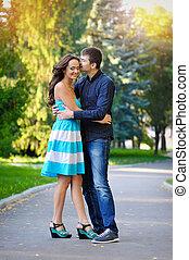 amour, couple, heureux, jeune, park.