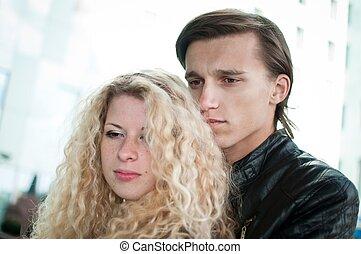amour, couple, -, jeune, ensemble