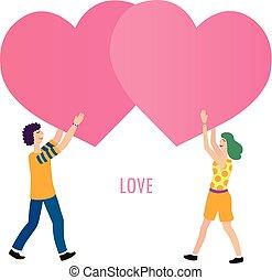 amour, couple, jeune, illustration, vecteur, minimalistic, conceptuel