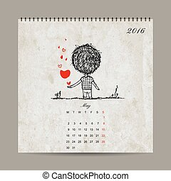 amour, couple, may., ensemble, grille, calendrier, 2016, conception