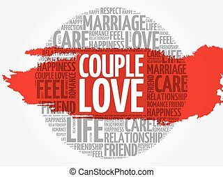 amour, couple, mot, cercle, nuage