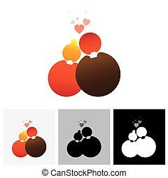 amour, &, ), (, couple, ou, vecteur, petite amie, logo, petit ami, symbole, icône