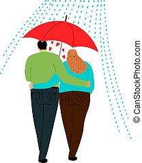 amour, couple, parapluie, sous