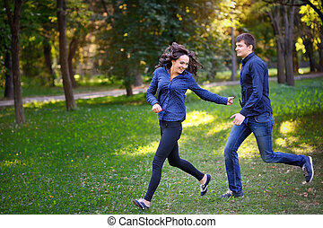 amour, couple, parc