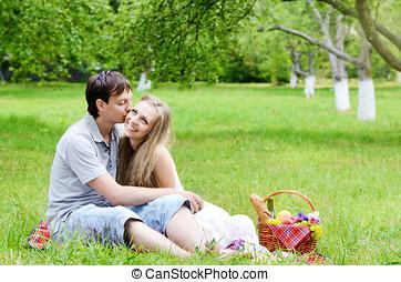 amour, couple, pique-nique, jeune