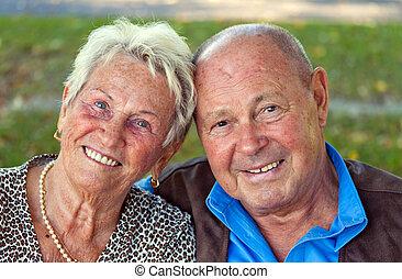 amour, couple, portraits., personne agee, mûrir