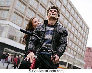 amour, couple, vélo, jeune, équitation