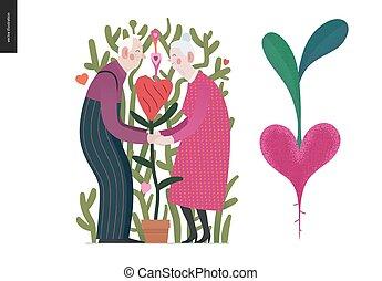 amour, couple, valentin, -, graphiques, personnes agées