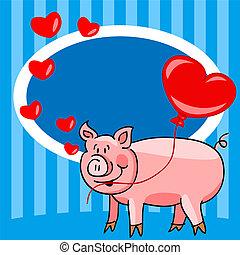 amour, dessin animé, carte, cochon