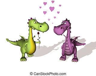 amour, deux, dragons