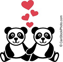 amour, deux, pandas