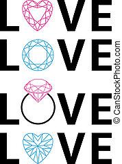 amour, diamant, vecteur