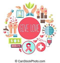 amour, donner, affiche, fonds, donation, vecteur, sanguine, social, organisation, charité, volontaire