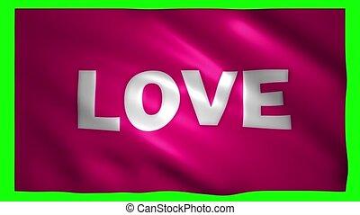 amour, drapeau, écrit, vert, écran