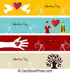 amour, ensemble, bannière, valentin
