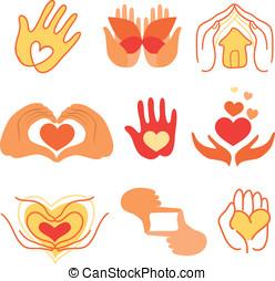 amour, f, -, collection, vecteur, signes