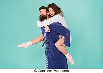 amour, famille, lune miel, barbu, profond, gai, robe., ensemble., fun., morning., parfait, love., time., couple, heureux, trip., vie, femme, romantinc, couple., homme, sentiment, avoir