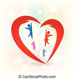 amour famille, mains, protection, logo, vecteur