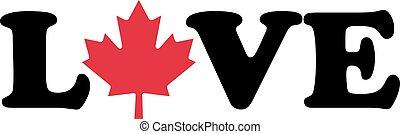amour, feuille, mot, érable, canadien