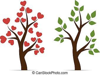 amour, feuilles, arbre, coeur