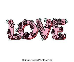 amour, fleurs, mot