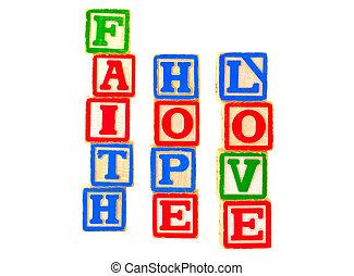 amour, foi, espoir, 3, lettre, blocs