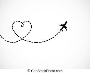 amour, formé, voler, ciel, partir, piste, derrière, fumée, blanc, avion