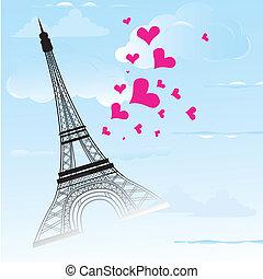 amour, france, paris, symbole, voyage, carte, ville, romance