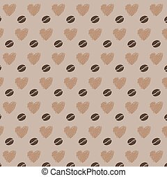 amour, grains café, seamless, modèle
