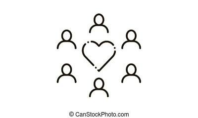 amour, groupe, icône, humain, animation