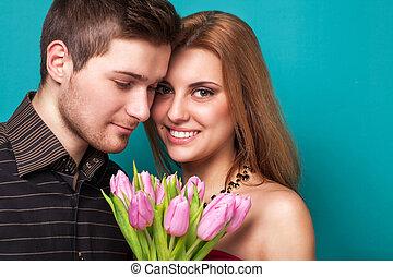 amour, habillé, couple, jeune, cla, poser, portrait, studio