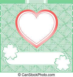 amour, heart., vecteur, arrière-plan vert, mariage, graffiti