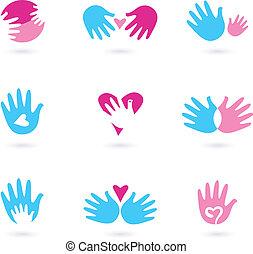amour, icônes, résumé, isolé, collection, mains, blanc
