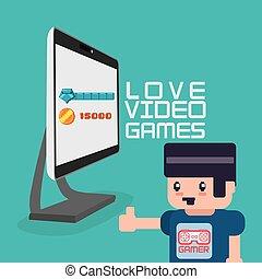 amour, informatique, vidéo, gamer, jeux, avatar
