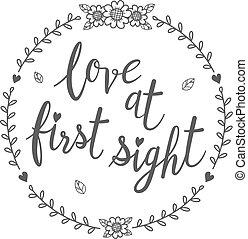 amour, isolé, qoutes., vue, calligraphie, premier