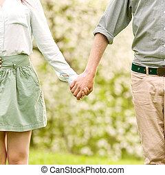 amour, jeune, marche, couple