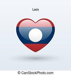 amour, laos, symbole., coeur, drapeau, icon.