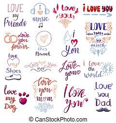 amour, lettring, vecteur, agréable, calligraphie, aimable, amitié, signe, à, maman, papa, ami, iloveyou, sur, saint-valentin, bien-aimé, carte, illustration, ensemble, de, amour famille, décor, typographie, isolé, blanc, fond