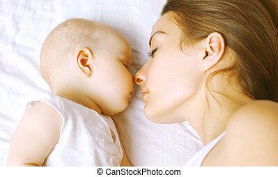 amour, -, lit, harmonie, sommeil, maman, bébé
