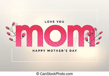 amour, mère, salutation, maman, jour, heureux