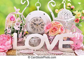 amour, mesquin, romantique, chic, décoration