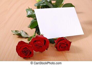 amour, message, sur, table