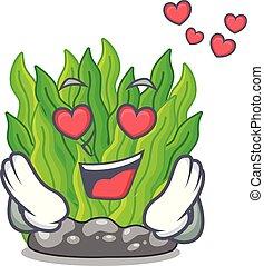 amour, miniature, vert, algue, au-dessus, table, mascotte