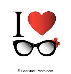 amour, mode, port oeil