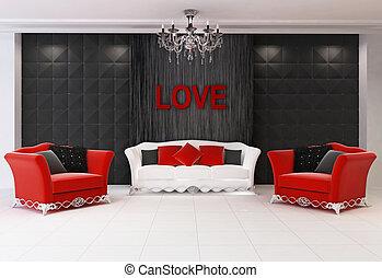 amour moderne, confort, deux, sofa, fauteuils, intérieur, meubles, rouges