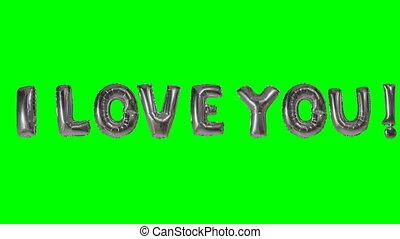 amour, mot, écran, vous, vert, lettres, flotter, ballon hélium, argent