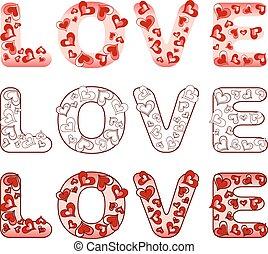 amour, mot, hearts.
