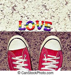 amour, mot, marcher, asphalte, homme
