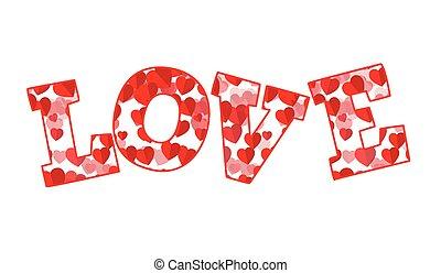 amour, mot, rouges, cœurs