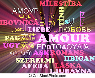 Amour multilanguage wordcloud background concept glowing